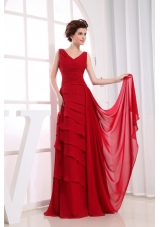 V-neck Ruffled Layers Prom Dress Column Wine Red