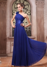 Hand Flower Pleat Prom Dress One Shoulder Blue