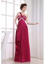 Beading Wine Red Ruching Prom Dress One Shoulder
