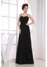 Spaghetti Straps Black Bridemaid Dress Ruching Chiffon