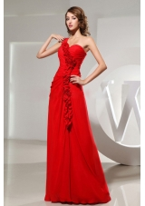 Winding Floral One Shoulder Prom Dress With Floor-length