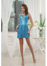 Blue V-neck Cocktail Dress Sequin Mini-length