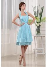 Spaghetti Straps Chiffon Brown Tea-length Bridesmaid Dresses