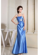 Beading Sky Blue Prom Dress With Straps Floor-length