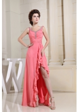 Watermelon High-low Ruched Bodice Beaded Straps Prom Dress