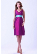 Discount Purple V-neck Bridesmaid Dresses Blue Belt