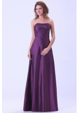 Dark Purple Bridemaid Dress Strapless Floor-length