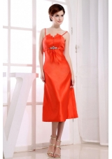 Spaghetti Straps Tea-length Orange Red Prom Dress