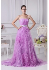 Exquisite Ruffled Lavender Court Train Strapless Prom Celebrity Dresses
