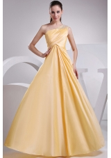 Yellow Taffeta Prom Dress Beading and Ruching One Shoulder