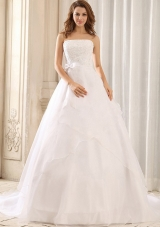 Sash and Appliques Wedding Gowns Ruffled Layers Organza