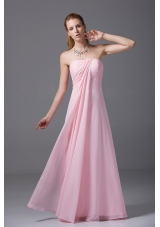 Pink Bridesmaid Dress Strapless Chiffon Ruched Empire