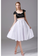 Cap Sleeves White and Black Satin Knee-length Prom Dress