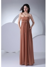 Brown Chiffon Beading Prom Gown Strapless