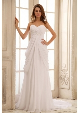 Beach Wedding Dress Sweetheart Appliques and Ruch Chiffon