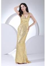 Gold Paillette Over Skirt V-neck 2013 Prom Dress