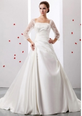 Square Weding Dress With Ruch and Appliques Satin