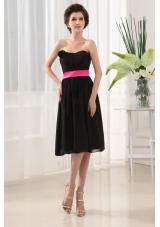 Bridesmaid Dress Ribbons Chiffon Black Tea-length