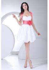 White Prom Dress Floral Bowknot Mini-length Straps