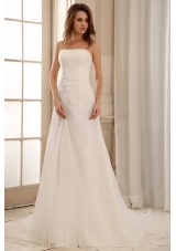 Strapless Weding Dress With Ruch and Appliques Organza