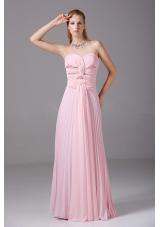 Pink Chiffon Beading Prom Dress Ruching