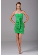 Spring Green Chiffon Mini-length Prom Dress Ruching