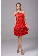 Red Spaghetti Straps Bowknot Prom Dress Riffled Layers
