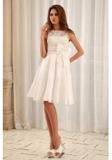 Sweet Bateau Short Wedding Gowns With Lace and Sash