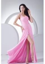 High Slit Pink Chiffon One Shoulder Prom Dress Beading
