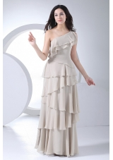 Grey One Shoulder Ruffled Layers Chiffon Prom Dress