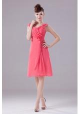 Watermelon Bridesmaid Dress Knee-length Straps Chiffon