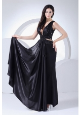 Sexy Prom Dress V-neck Elastic Woven Satin Ankle-length