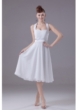White Halter Bridesmaid Dress Empire Chiffon Tea-length