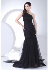 One Shoulder Black Tulle Taffeta Prom Dress Appliques