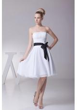Black Ribbons Chiffon Knee-length Bridesmaid Dress