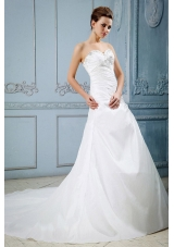 Appliques Bridal Dresses Sweetheart with Beading Train