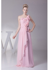 One Shoulder Beading Hand Made Flowers Pink Prom Dress