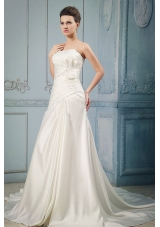 Ivory A-line Wedding Dress Appliques Beading Ruching Bow