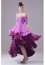 Colorful High-low Prom Gowns Beading Ruffled Layers