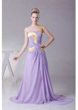 Lilac Prom Dress One Shoulder Chiffon and Brush Train