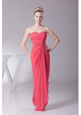 Ruched Sweetheart Coral Red Prom Homecoming Dress Chiffon