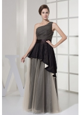 One Shoulder and Ruched Prom Dress Two Layers