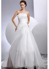 Customize Wedding Dress Appliques A-line Court