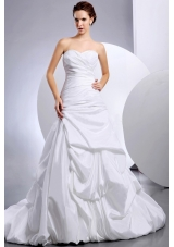 Sweetheart Ruched Beading Wedding Dress Gray And White
