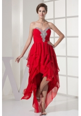 High Low Red Asymmetrical Chiffon Prom Dress Beaded