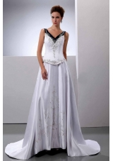 V-Neck A-Line Embroidery Wedding Dress Court Train Satin