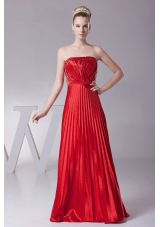 Pleated Red Strapless Floor-length Prom Dress Customized