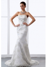 Mermaid Embroidery Lace Brush Train Bridal Dress