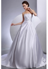 Chapel Train Wedding Gown Dresses Satin Strapless