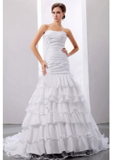 Mermaid Layered Ruffles Wedding Dresses Ruched Strapless